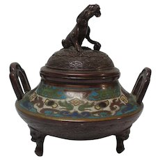 Japanese BRONZE Champleve CENSER Incense Burner, Foo Dog Finial