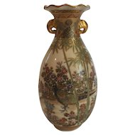 "19th C. Japanese SATSUMA 6"" Vase, MEIJI Period, Pheasant & Floral Decoration"