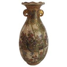 "19th C. Japanese SATSUMA 6"" Vase, MEIJI Period, Pheasant & Floral Decoration"