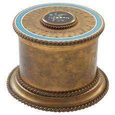 French Grand Tour Dore Bronze Casket Box, PIETRA DURA Medallion, c. 1890
