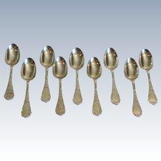 Set/9 Wood & Hughes MURILLO Sterling Silver Teaspoons, 215 grams