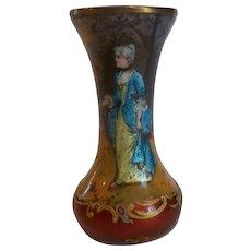 """19th C. French Limoges Enamel 3.25"""" Portrait Vase, Signed"""
