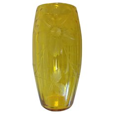 Golden Topaz Art Glass Vase, Intaglio Cut Floral Design
