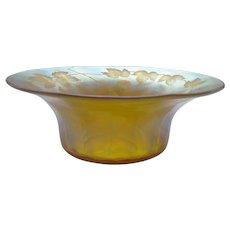 L. C. Tiffany FAVRILE Gold Iridescent Intaglio Cut Art Glass Bowl, Signed