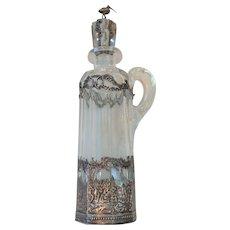 19th Century Crystal Bottle, Dutch .830 Silver Cased Decoration, Crane Finial