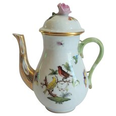 "Herend Porcelain ROTHSCHILD BIRD 6"" Mocha Coffee Pot"