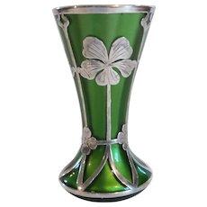 "Art Nouveau Silver Overlay 4"" Green Glass Vase"