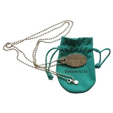 "Tiffany & Co. Sterling Silver 18"" Necklace & ID Tag"