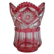 American Brilliant Cranberry Cut-to-Clear Glass Vase, c. 1990