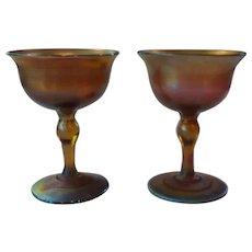Pair L. C. Tiffany FAVRILE Gold Iridescent Art Glass Wine Goblets