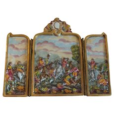 CAPO-DI-MONTE Miniature 3-Panel Screen, Hunting Scene, c. 1880