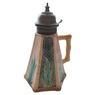 19th C. Griffin, Smith & Hill ETRUSCAN Majolica BAMBOO Pewter Top Syrup Pitcher
