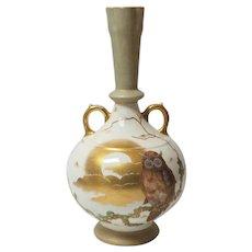 """Royal Bonn Germany 14.25"""" Vase, Owl & Moon Decoration, c. 1875-1890"""