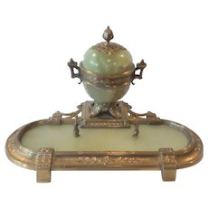 19th C. French Bronze & Onyx Inkstand / Masonic Freemason Symbols