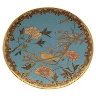"19th C. Japanese CLOISONNE Enamel 9.5"" Plate / Charger, Bird & Flowers"