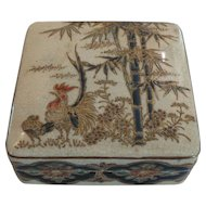 19th C. Japanese KYOTO Satsuma MEIJI Period GOSU BLUE Box, c. 1860, Signed
