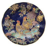 Carlton Ware Blue Royale Plate, Cock & Peony, c. 1918