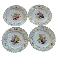 Set/4 Meissen Reticulated Border Fruit Plates, 19th C. Crossed Swords