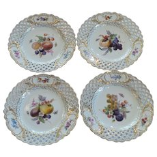Set/4 Meissen Reticulated Border Fruit Plates, 19th C. Crossed Swords