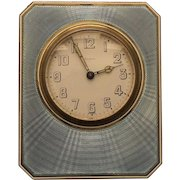 ART DECO Travel Clock, Sterling Silver & Blue ENAMEL Case