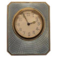 ART DECO Travel Clock, Sterling Silver & Blue ENAMEL Case