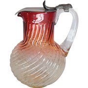Baccarat Crystal ROSE TIENTE Swirl Pitcher, Pewter Lid