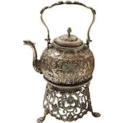 Netherlands .835 Dutch Silver Tea / Water Kettle on Stand, c. 1880