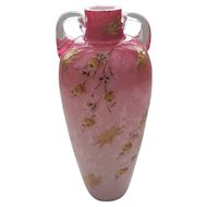 19th C. CRANBERRY Art Glass Vase, Internal Silver Mica AVENTURINE, Enameled Floral Decoration