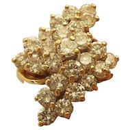 14 Karat Gold Cluster Ring, 3.5 Ct. DIAMOND, Size 6.5, Appraised $5500.00