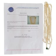 "Estate Cultured Pearl 60"" Necklace, 14 K Jadeite Clasp, Appraised $3250.00"