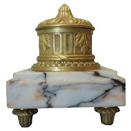 Antique French Inkwell, Classical Style Dore Bronze on Footed Marble Base