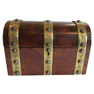 Mid-19th C. Rosewood Double Tea Caddy, Brass Banding