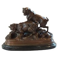 Miniature JULES MOIGNIEZ French Bronze Dogs Sculpture