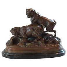 Miniature JULES MOIGNIEZ French Bronze Dogs Sculpture