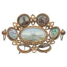 French Eglomise Calling Card Tray, Grand Tour Paris Expo Souvenir, c. 1889