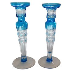 """Christian LaCroix 9"""" CANDLESTICK Pair, Blue Cut-to-Clear Glass"""