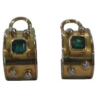 18 Karat Gold EARRINGS, Emerald and Diamonds