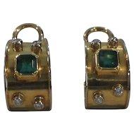 18 Karat Gold EARRINGS, Emerald and Diamonds