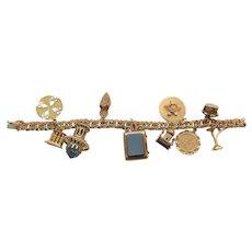 14 Karat GOLD Charm Bracelet, 10 Theme Charms