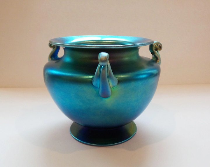 Steuben Blue Aurene Iridescent Art Glass Vase Carder Era Mint