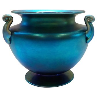 Steuben Blue AURENE Iridescent Art Glass Vase, Carder Era MINT!