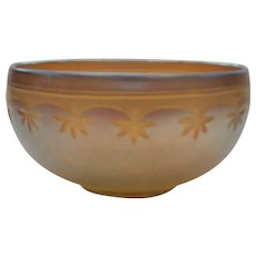 Tiffany FAVRILE Gold Iridescent Art Glass Small BOWL, Incised Design