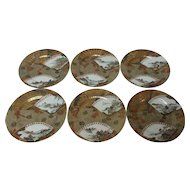 Set/6 Japanese ARITA Plates, Gilt Decoration with Fans