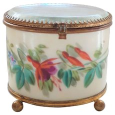 French Glass Top Enamel Decorated Trinket Jewelry Display Box (#3)