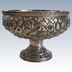 "19th C. Baltimore Sterling Silver Repousse 9"" Pedestal Bowl / Centerpiece"