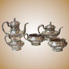 Gorham BUTTERCUP Sterling Silver 5-Piece Coffee / Tea Set, 1510 grams