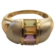 14 Karat Gold Ring, Assorted Gemstones, Yellow & White Gold