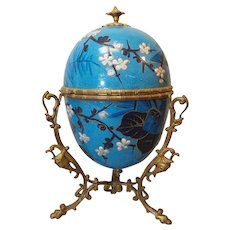 Rare 19th C. SEVRES Large Porcelain Hand Painted EGG Shaped Box, Ormolu Mount