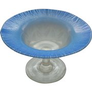 L. C.  TIFFANY FAVRILE Pastel Blue Iridescent Opalescent Art Glass Compote, Signed