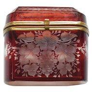 19th C. Bohemian Ruby Overlay Art Glass BOX / CASKET, Engraved Design